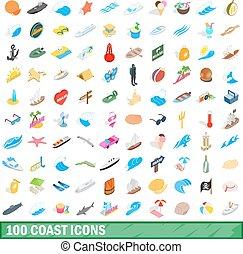 100 coast icons set, isometric 3d style