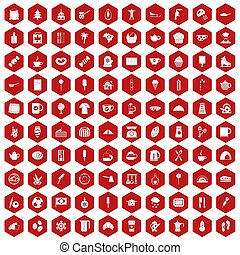 100 coffee icons hexagon red