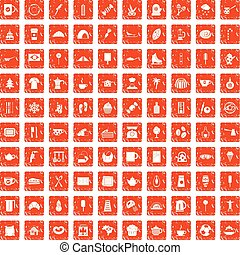 100 coffee icons set grunge orange