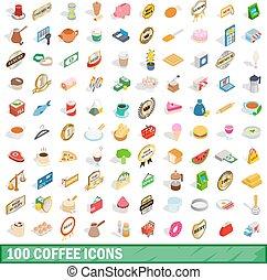 100 coffee icons set, isometric 3d style