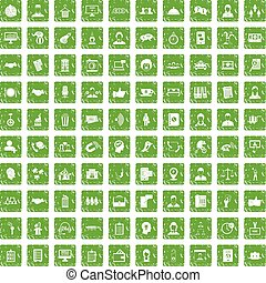 100 coherence icons set grunge green