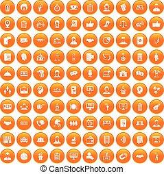 100 coherence icons set orange