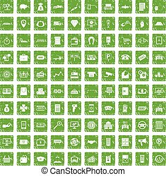 100 coin icons set grunge green