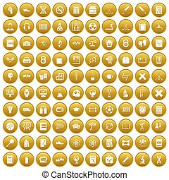 100 college icons set gold