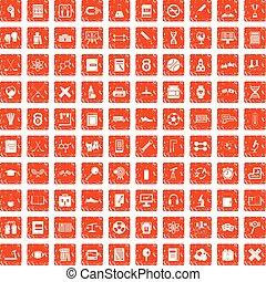 100 college icons set grunge orange