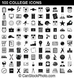 100 college icons set, simple style