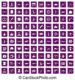 100 combat vehicles icons set grunge purple