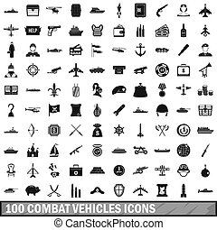 100 combat vehicles icons set, simple style