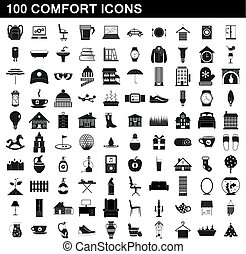100 comfort icons set, simple style