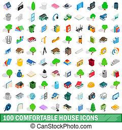 100 comfortable house icons set, isometric style - 100...