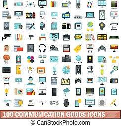 100 communication goods icons set, flat style