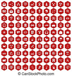 100 communication icons hexagon red