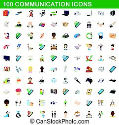 100 communication icons set, cartoon style