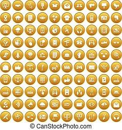 100 communication icons set gold