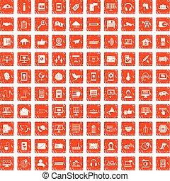 100 communication icons set grunge orange