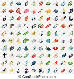 100 communication icons set, isometric 3d style