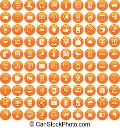 100 communication icons set orange