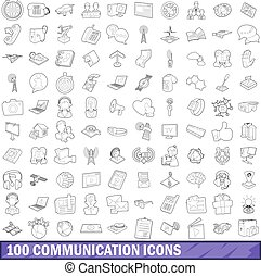 100 communication icons set, outline style