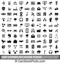 100 communication icons set, simple style