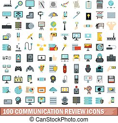 100 communication review icons set, flat style