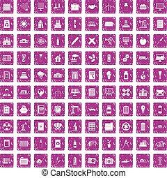 100 company icons set grunge pink