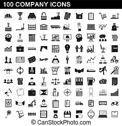 100 company icons set, simple style
