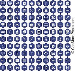 100 compass icons hexagon purple