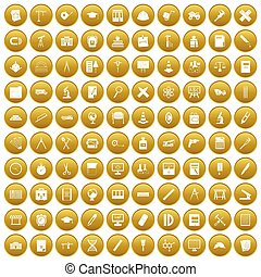 100 compass icons set gold