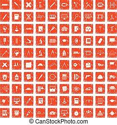 100 compass icons set grunge orange