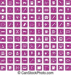 100 compass icons set grunge pink