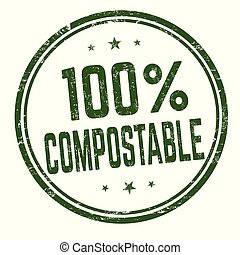 100 % compostable sign or stamp