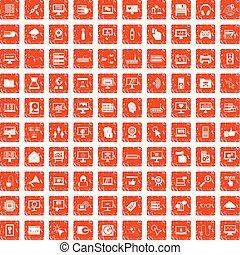 100 computer icons set grunge orange