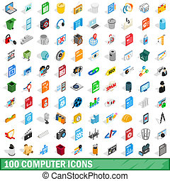 100 computer icons set, isometric 3d style