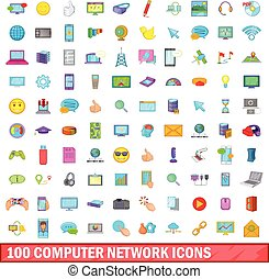 100 computer network icons set, cartoon style