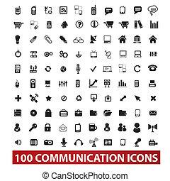 100, comunicación, y, conexión, iconos, conjunto, vector