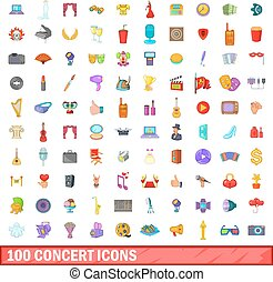100 concert icons set, cartoon style