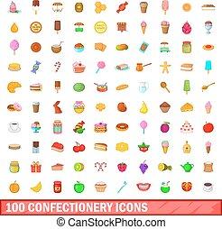 100 confectionery icons set, cartoon style