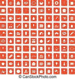 100 confectionery icons set grunge orange