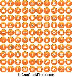 100 confectionery icons set orange