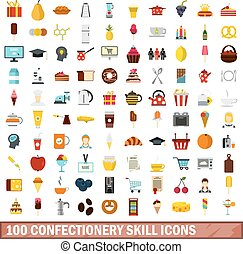 100 confectionery skill icons set, flat style