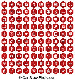100 conference icons hexagon red