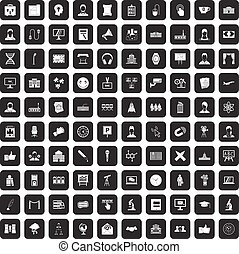 100 conference icons set black