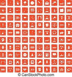 100 conference icons set grunge orange