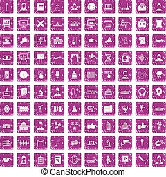100 conference icons set grunge pink