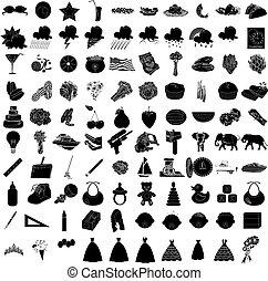 100, conjunto, 3, icono