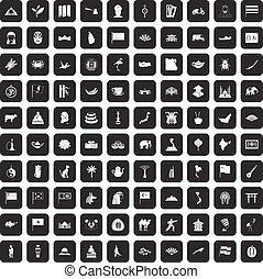 100, conjunto, negro, asia, iconos
