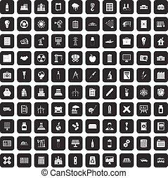 100, conjunto, negro, compañía, iconos