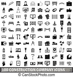 100 construction company icons set, simple style