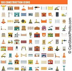 100 construction icon set, flat style - 100 construction...