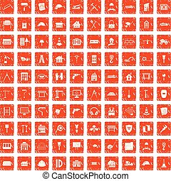 100 construction icons set grunge orange